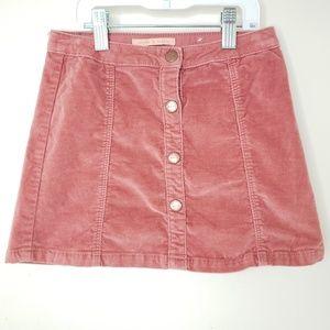 Zara Girls Size 7 Velvet Button Mauve Skirt